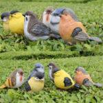 New 6pcs Little Bird Set Detailed Resin Garden Ornaments Decorations Patio Door Pond