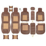 New 5 Seat Car Seat Cover Cooling Mesh PU Leather Front Rear Full Set All Seasons Pillow Brown