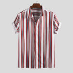 New Mens Classic Striped Summer Short Sleeve Loose Comfy Shirts