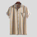 New Men Ethnic Pattern Print Vintage Chest Pocket Holiday Shirts
