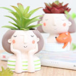 New Succulent Plant Pot Cute Girl Flower Planter Creat Design Home Garden Decorations