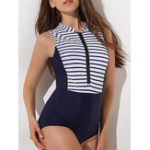 New One-Piece Zipper Front Striped Swimwear