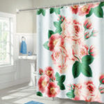 """New 71""""x71"""" Long Peach Blossom Pattern Waterproof Polyester Shower Curtain with Hooks"""