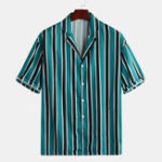 New Mens Summer Buttons Fly Stripe Casual Shirts