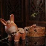 New 2Pcs/Set Ceramic Incense Cone Burner Incense Holder Donkey Pulling Millstone w/ Rope Lucky Fragrant Censer Decor