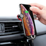 New Baseus Gravity Linkage Automatical Lock Air Vent Car Phone Holder With USB Cable For iPhone XS Max iPhone 8 Plus