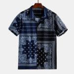New Men Bandana Print Short Sleeve Casual Shirts