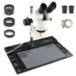 New  Stereo Microscope 3.5X – 90X Continuous Zoom Magnification + Big Aluminum Stand + 56 LED Ring Light + Lens
