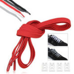 New 2Pcs 100cm Elastic No Tie Shoelaces Lazy Free Tie Sneaker Laces With Buckles Sports Running