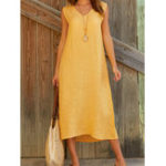 New Solid Color V Neck Sleeveless Casual Dress