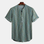 New Mens Casual Comfy Summer Short Sleeve Plaid Henley Shirts