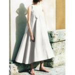 New Women Sleeveless O-neck Loose Solid Swing Hem Dress