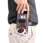 New Multiple Sizes Men PU Leather Solid Phone Purse Waist Bag