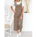 New Women Straps Wide Leg Leopard Print Overalls Long Jumpsuit
