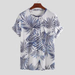 New Men Palm Leaf Print Short Sleeve Crew Neck Hawaiian T-Shirts