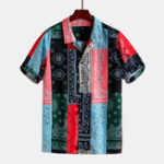 New Men Colorful Bandana Print Short Sleeve Revere Shirts