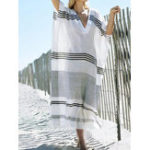 New Women Bat Sleeve Striped Split Hem Loose Long Dress