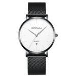 New CRRJU 2269 Men Steel Simple Dial Date Display Quartz Watch