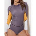 New Long-Sleeved One-Piece Zipper Sun Protection Swimwear