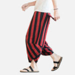 New Mens Ethnic Style Summer Stripe Casual Pants