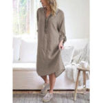 New Women Casual Solid Loose V-Neck Shirt Dress