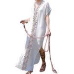 New Bohemian Floral V-neck Short Sleeve Robe Long Maxi Dress