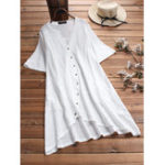 New Plus Size Button Front Short Sleeve Irregular Long Shirts