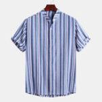 New Mens Summer Casual Loose Short Sleeve Striped Shirts