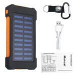 New LED Compass Waterproof 6000mAh 2 USB Portable Solar Battery Charger Solar Power Bank Climbing Hook