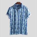 New Men Seersucker Stripe Print Short Sleeve Hawaiian Shirts