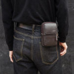 New GZCZ Men Genuine Leather Phone Bag Zipper Waist Bag
