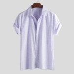 New Mens Summer Short Sleeve Striped Casual Loose Shirts