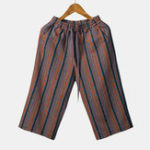New Mens Summer Striped Printed Cotton Casual Pants