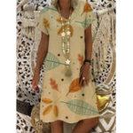 New Women Casual Print V-Neck Short Sleeve Dress