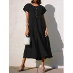 New Women Pleated Loose Round Neck Bat Sleeve Dress