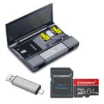 New Kawau Large Capacity Card Box + Type-c USB 3.0 Micro USB Card Reader + Eject Pin Key + StickDrive 64GB Memory Card With Card Adapter