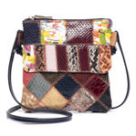 New Women Patchwork Vintage Genuine Leather Crossbody Bag