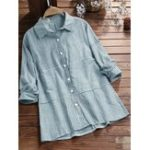 New Casual Striped Lapel Button Blouse for Women