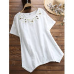 New Women Casual Loose Embroidered Short Sleeved T-Shirts