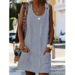 New Women Stripe Round Neck Sleeveless Short Dress with Pockets