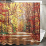 "New 71""x71"" Autumn Leaves Pattern Waterproof Polyester Shower Curtain Bathroom Fabric with 12 Hooks"