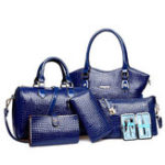 New 6 Pcs Alligator Pattern Handbag Vintage Bag