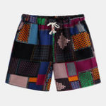 New Mens Summer Beach Cotton Printed Drawstring Casual Shorts