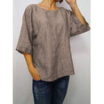 New Women Solid Color 3/4 Sleeve Crew Neck Blouse