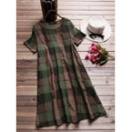 New Women Short Sleeve O-neck Plaid Retro Shirt Dress