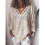 New Women Casual Hollow V-Neck Loose Blouse