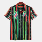 New Mens Fashion Colorful Patches Design Loose Striped Shirts