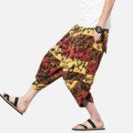 New Loose Breathable Ethnic Style Printed Linen Radish Pants