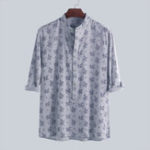 New Mens Floral Printed Half Sleeve Striped Shirts