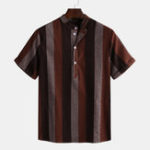 New Mens Summer Big Stripe Design Casual Shirts